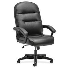Pillow-Soft Executive High-Back Chair | Fixed Arms | Black SofThread Leather