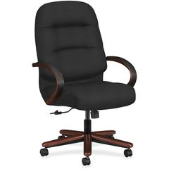 "HON Pillow-Soft 2190 Executive High-Back Swivel Chair - Black Seat - Black Back - Wood Frame - 5-star Base - 22"" Seat Width x 21"" Seat Depth - 26.3"" Width x 29.8"" Depth x 46.5"" Height"