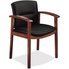 "HON Park Avenue Coll Wood Frame Guest Chair - Leather Black Seat - Leather Black Back - Hardwood Frame - Four-legged Base - Cognac - Veneer - 20"" Seat Width x 17"" Seat Depth - 23.5"" Width x 22"" Depth"