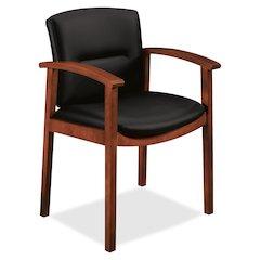 "HON Park Avenue Coll Wood Frame Guest Chair - Leather Black Seat - Leather Black Back - Hardwood Frame - Four-legged Base - Mahogany - Veneer - 20"" Seat Width x 17"" Seat Depth - 23.5"" Width x 22"" Dept"