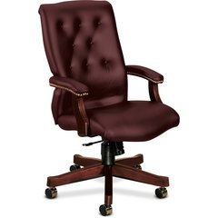 """HON 6540 Series Executive High-Back Chair - Leather Merlot Seat - Leather Merlot Back - 5-star Base - 22"""" Seat Width x 19"""" Seat Depth - 25.8"""" Width x 29.5"""" Depth x 44.8"""" Height"""