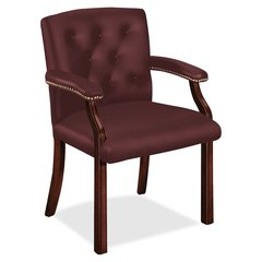 "HON Guest Chair - Leather Merlot Seat - Leather Merlot Back - Hardwood Mahogany Frame - Four-legged Base - 20"" Seat Width x 19"" Seat Depth - 25"" Width x 27.5"" Depth x 35.8"" Height"