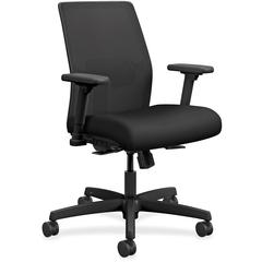 "HON - Fabric Black Seat - Fabric Back - Black Frame - 5-star Base - 19"" Seat Width x 18"" Seat Depth - 26"" Width x 26.5"" Depth x 40.5"" Height"