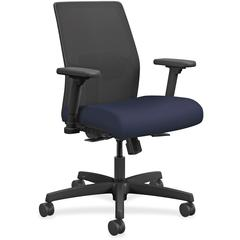 "HON - Fabric Navy Seat - Fabric Back - Black Frame - 5-star Base - 19"" Seat Width x 18"" Seat Depth - 26"" Width x 26.5"" Depth x 40.5"" Height"