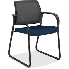 "HON Ignition Mesh Back Sled Base Guest Chair - Fabric Navy Seat - Steel Frame - Sled Base - 25"" Width x 21.8"" Depth x 33.5"" Height"