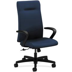"HON Ignition Series Executive High-back Chair - Fabric Navy Seat - 5-star Base - 20"" Seat Width x 18"" Seat Depth - 27"" Width x 38.5"" Depth x 47.5"" Height"