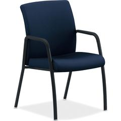 "HON Ignition Series Multi-purpose 4-leg Guest Chair - Fabric Navy, Wood, Polyester Seat - Fabric Navy, Wood, Polyester Back - Steel Frame - Four-legged Base - 16.75"" Seat Width x 16.75"" Seat Depth - 2"