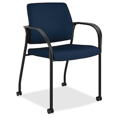 "HON Ignition Fabric Back Mobile Stacking Chair - Foam Navy, Fabric Seat - Fabric Navy Back - Steel Frame - Four-legged Base - 18"" Seat Width x 17"" Seat Depth - 25"" Width x 21.8"" Depth x 33.5"" Height"