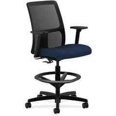 "HON Ignition Series Mesh Back Task Stool - Fabric Navy Seat - Black Back - Black Frame - 5-star Base - 27.5"" Width x 27.5"" Depth x 55"" Height"