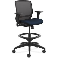 "HON Quotient Mesh Mid-back Task Stool - Foam Navy Seat - Fabric Back - 5-star Base - 29.8"" Width x 28.8"" Depth x 49.4"" Height"