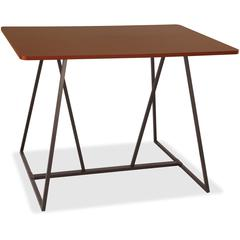 """Safco Oasis Standing-Height Teaming Table - High Pressure Laminate (HPL), Cherry - 60"""" Table Top Width x 48"""" Table Top Depth - 42"""" Height - Assembly Required"""