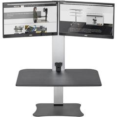 """Victor High Rise Electric Dual Monitor Height Adjustable Standing Desk Workstation - Supports Two 25"""" Wide Monitors - 12.5 lbs Each Load Capacity - 0"""" to 20"""" Height x 28"""" Width x 23"""" Depth - One-Touch"""