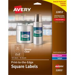 """Avery Easy Peel Glossy Clear Labels - Permanent Adhesive - 2"""" Height x 2"""" Width - Square - Laser, Inkjet - Clear - 12 / Sheet - 120 Total Label(s) - 120 / Pack"""