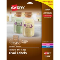 """Avery Easy Peel Glossy Clear Labels - Permanent Adhesive - 1 1/2"""" Height x 2 1/2"""" Width - Oval - Laser, Inkjet - Clear - 18 / Sheet - 180 Total Label(s) - 180 / Pack"""