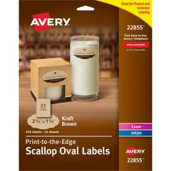 """Avery Kraft Brown Scalloped Labels - Permanent Adhesive - 1 1/8"""" Height x 2 1/4"""" Width - Oval - Laser, Inkjet - Kraft - 21 / Sheet - 525 Total Label(s) - 525 / Pack"""