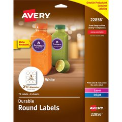 """Avery Durable Round Labels - Permanent Adhesive - 2 1/2"""" Diameter - Round - Laser, Inkjet - White - Polyester - 9 / Sheet - 72 Total Label(s) - 72 / Pack"""