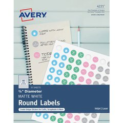 """Avery Matte White Print-to-Edge Round Labels - Permanent Adhesive - 3/4"""" Diameter - Round - Laser, Inkjet - White - 80 / Sheet - 800 Total Label(s) - 800 / Pack"""