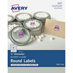 """Avery Clear Glossy Print-to-the-Edge Round Labels - Permanent Adhesive - 3/4"""" Diameter - Round - Laser, Inkjet - Clear - 80 / Sheet - 400 Total Label(s) - 400 / Pack"""