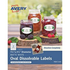 """Avery Oval Dissolvable Labels - Removable Adhesive - 1 1/2"""" Height x 2 1/2"""" Width - Oval - Laser, Inkjet - White - 18 / Sheet - 90 Total Label(s) - 90 / Pack"""
