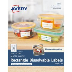 """Avery Rectangle Dissolvable Labels - Removable Adhesive - 1 1/4"""" Height x 2 3/8"""" Width - Rectangle - Laser, Inkjet - White - 18 / Sheet - 90 Total Label(s) - 90 / Pack"""
