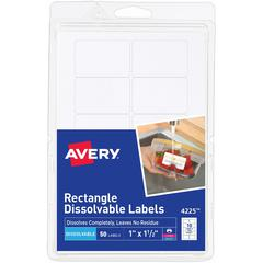 """Avery Rectangle Dissolvable Labels - Removable Adhesive - 1"""" Height x 1 1/2"""" Width - Rectangle - Laser, Inkjet - White - 10 / Sheet - 50 Total Label(s) - 50 / Pack"""