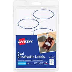 """Avery Rectangle Dissolvable Labels - Removable Adhesive - 1 1/8"""" Height x 2 1/4"""" Width - Oval - Laser, Inkjet - White - 6 / Sheet - 50 Total Label(s) - 30 / Pack"""