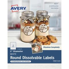 """Avery Round Dissolvable Labels - Removable Adhesive - 2"""" Diameter - Round - Laser, Inkjet - White - 12 / Sheet - 60 Total Label(s) - 60 / Pack"""