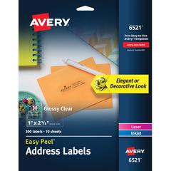 """Avery Easy Peel High Gloss Clear Mailing Labels - Permanent Adhesive - 1"""" Height x 2 5/8"""" Width - Rectangle - Laser, Inkjet - Clear - 30 / Sheet - 300 Total Label(s) - 300 / Pack"""