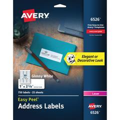 Avery Easy Peel High Gloss White Mailing Labels - Laser, Inkjet - White - 750 / Pack