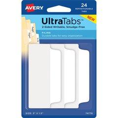 "Avery Filing Ultra Tabs - Write-on Tab(s) - 3"" Tab Height x 1.50"" Tab Width - Self-adhesive - White Tab(s) - 24 / Pack"