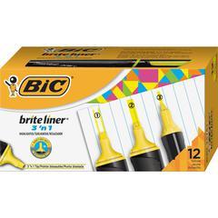 BIC Brite Liner 3'n-1 Highlighter - Yellow - 1 Dozen