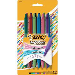 BIC Soft Feel Ball Pen - Medium Point Type - 1 mm Point Size - Assorted - 12 / Pack