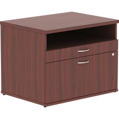 "Lorell Relevance Series Mahogany Laminate Office Furniture - 29.5"" x 22"" x 23.1"" - 2 x File Drawer(s) - 1 Shelve(s) - Finish: Silver Pull, Mahogany, Laminate"
