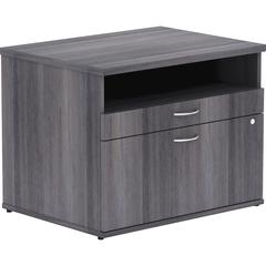 "Lorell Relevance Series Charcoal Laminate Office Furniture - 29.5"" x 22"" x 23.1"" - 2 x File Drawer(s) - 1 Shelve(s) - Finish: Silver Pull, Charcoal, Laminate"