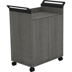 """Lorell Laminate Mobile Storage Cabinet - 31.1"""" x 17.8"""" x 36.3"""" - 2 x Door(s) - Mobility, Built-in Handle - Charcoal Gray - Laminate, Steel - Assembly Required"""