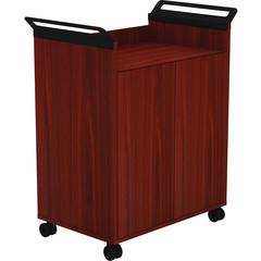 """Lorell Laminate Mobile Storage Cabinet - 31.1"""" x 17.8"""" x 36.3"""" - 2 x Door(s) - Mobility, Built-in Handle - Mahogany - Laminate, Steel - Assembly Required"""