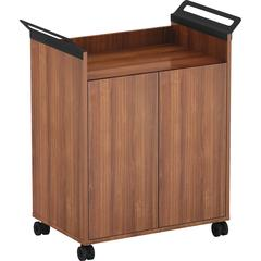 """Lorell Laminate Mobile Storage Cabinet - 31.1"""" x 17.8"""" x 36.3"""" - 2 x Door(s) - Mobility, Built-in Handle - Walnut - Laminate, Steel - Assembly Required"""