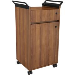 """Lorell Mobile Storage Cabinet with Drawer - 23.5"""" x 17.8"""" x 36.4"""" - 1 x Door(s) - Mobility, Built-in Handle - Walnut - Laminate, Steel - Assembly Required"""