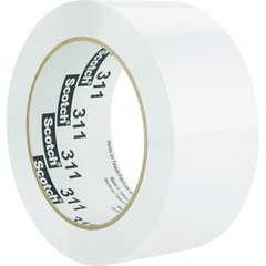 "Scotch Color Box Sealing Tape 311 - 2"" Width x 110 yd Length - 3"" Core - Acrylic - Polypropylene Film Backing - Lightweight, UV Resistant, Medium Duty - 1 Roll - White"