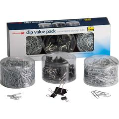 """OIC Clip Value Pack - 13"""" Width - 10 Sheet Capacity - for Document, Paper - Smooth, Reusable, Storage Tub - 1Each - Black, Silver - Metal"""