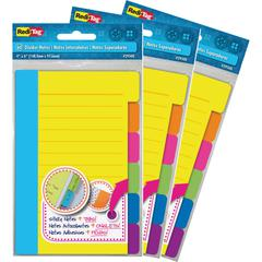 "Redi-Tag Assorted Tab Ruled Sticky Notes - 10 x Blue, 10 x Green, 10 x Orange, 10 x Pink, 10 x Purple, 10 x Yellow - 4"" x 6"" - Rectangle - 60 Sheets per Pad - Ruled - Multicolor - Paper - Self-adhesiv"