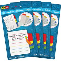 "Redi-Tag Tabbed Divider Notes - 4"" x 4"" - Square - Ruled - Multicolor - Tab, Self-stick - 4 / Box"