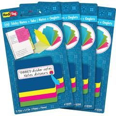 "Redi-Tag Tabbed Divider Notes - 4"" x 4"" - Square - Unruled - Assorted - Tab, Self-stick - 4 / Pack"