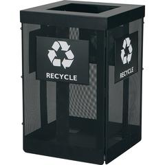"Safco Onyx Waste Receptacle - Overlapping Lid - 36 gal Capacity - Durable, Powder Coated - 29.8"" Height x 19.5"" Width x 19.5"" Depth - Steel - Black"