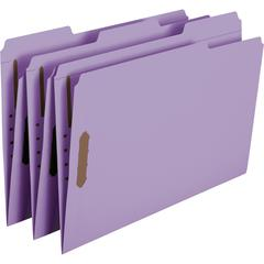 "Smead Colored Top-Tab Fastener File Folders - Legal - 8 1/2"" x 14"" Sheet Size - 2 Fastener(s) - 1/3 Tab Cut - Top Tab Location - Lavender - Recycled - 50 / Box"