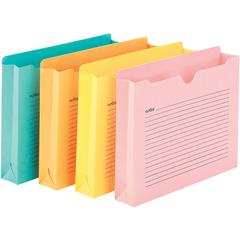 """Smead Notes 2"""" Expansion File Jackets - Letter - 8 1/2"""" x 11"""" Sheet Size - 2"""" Expansion - Straight Tab Cut - Aqua, Goldenrod, Pink, Yellow - Recycled - 12 / Pack"""