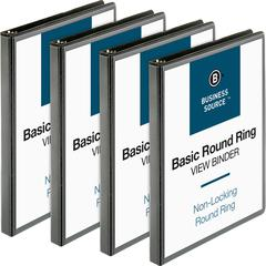 """Business Source Round-ring View Binder - 1/2"""" Binder Capacity - Letter - 8 1/2"""" x 11"""" Sheet Size - 125 Sheet Capacity - Round Ring Fastener - 2 Internal Pocket(s) - Polypropylene - Black - 4 / Bundle"""