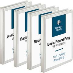 """Business Source Round-ring View Binder - 1/2"""" Binder Capacity - Letter - 8 1/2"""" x 11"""" Sheet Size - 125 Sheet Capacity - Round Ring Fastener - 2 Internal Pocket(s) - Polypropylene - White - 4 / Bundle"""