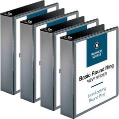 """Business Source Round-ring View Binder - 2"""" Binder Capacity - Letter - 8 1/2"""" x 11"""" Sheet Size - 475 Sheet Capacity - Round Ring Fastener - 2 Internal Pocket(s) - Polypropylene - Black - 4 / Bundle"""
