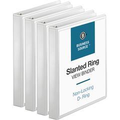 """Business Source Basic D-Ring White View Binders - 1"""" Binder Capacity - 240 Sheet Capacity - 3 x Slant D-Ring Fastener(s) - Internal Pocket(s) - Polypropylene - White - 4 / Bundle"""